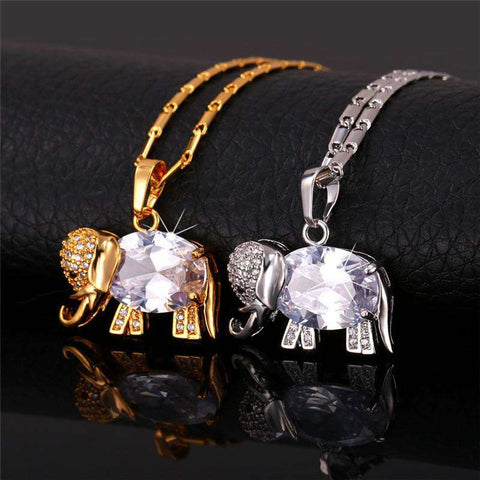 Image of Cute Elephant Zirconia Gold Necklace - Green Earth Animals