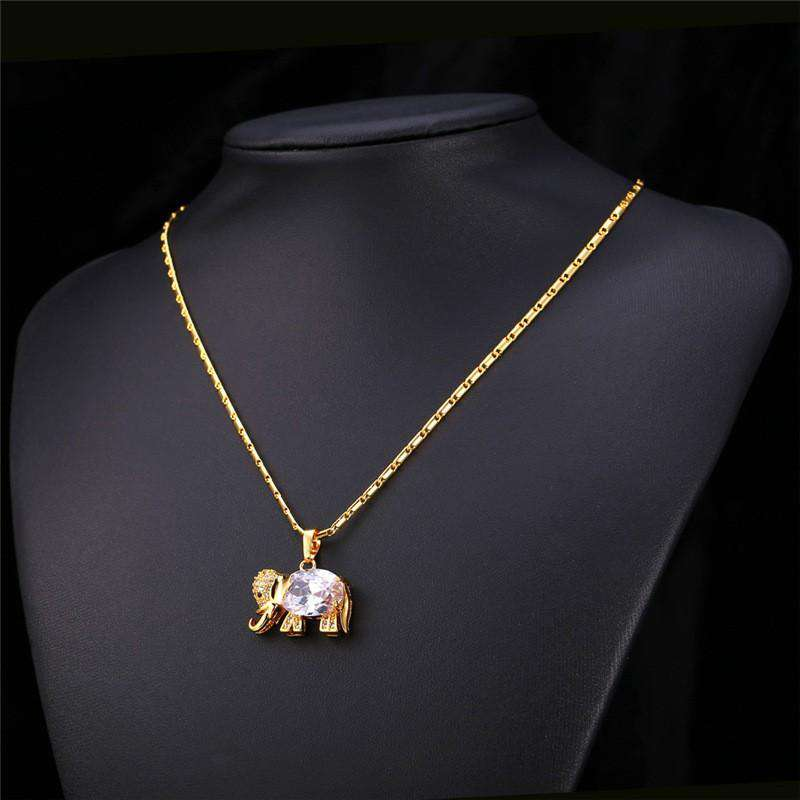 Cute Elephant Zirconia Gold Necklace - Green Earth Animals