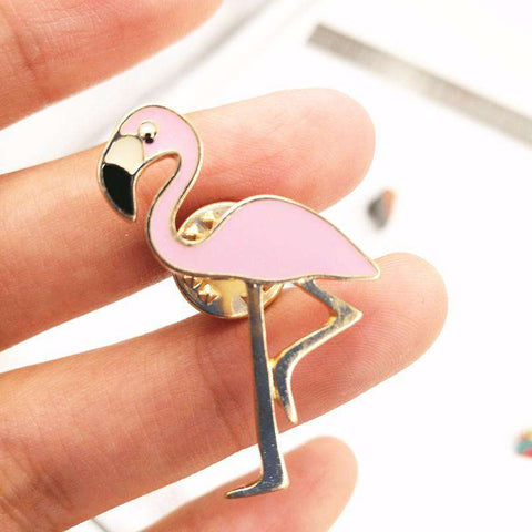 Image of Flamingo Brooch Pin - Green Earth Animals