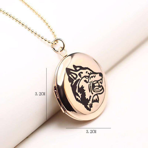 Wolf Lover's Locket Necklace - Green Earth Animals