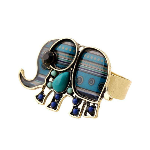 Elephant Enamel Ring - Green Earth Animals