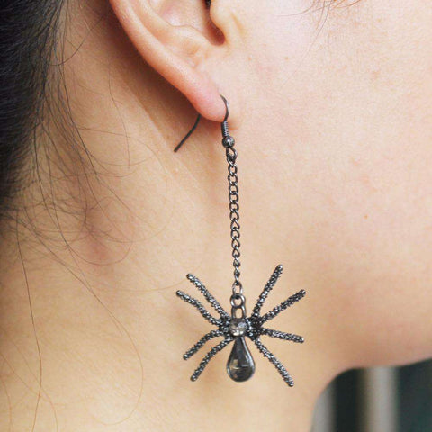 Black Spider Dangle Earrings - Green Earth Animals
