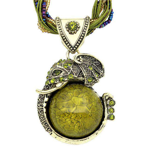 Crystal Resin Elephant Pendant Necklace - Green Earth Animals