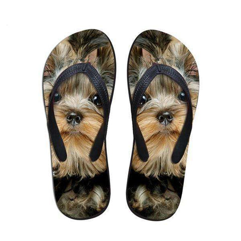 Image of Cute Yorkie Dog Flip Flop Sandals