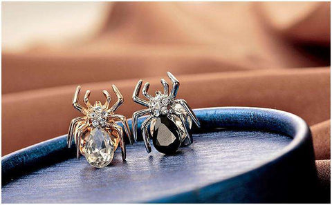 Image of Silver/Gold Rhinestone Spider Collar Pins