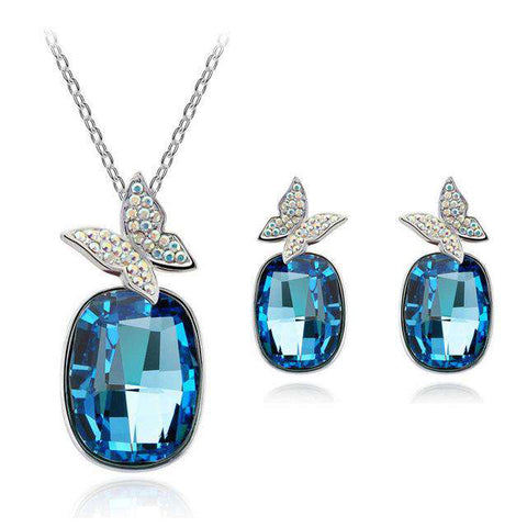 Image of Crystal Butterfly Necklace & Earring Sets - Green Earth Animals