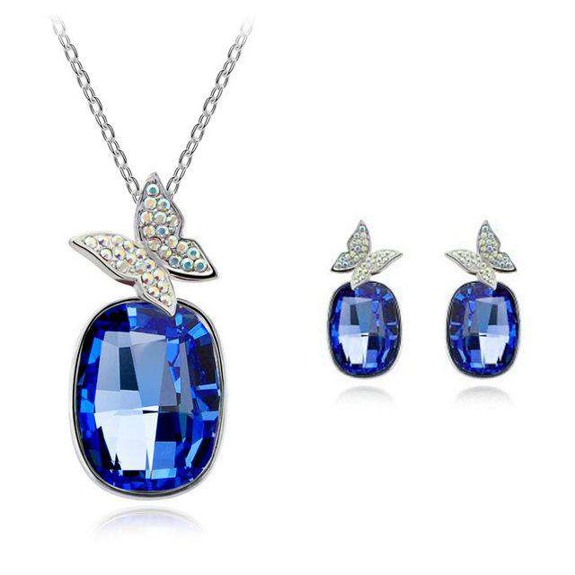 Crystal Butterfly Necklace & Earring Sets - Green Earth Animals