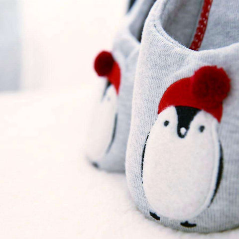 Winter Red and White Penguin Slippers