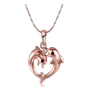 Rose Gold Two Dolphin Heart Necklace - Green Earth Animals