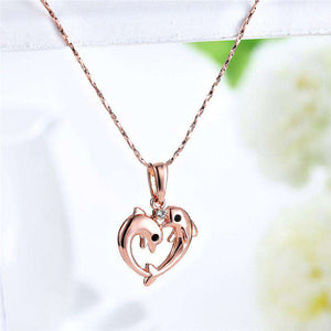 Rose Gold Two Dolphin Heart Necklace