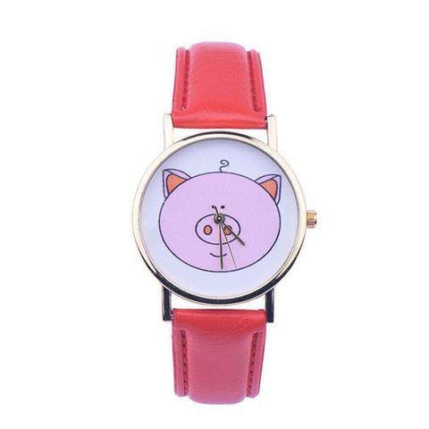 Image of Pink Pig Quartz Watch - Green Earth Animals