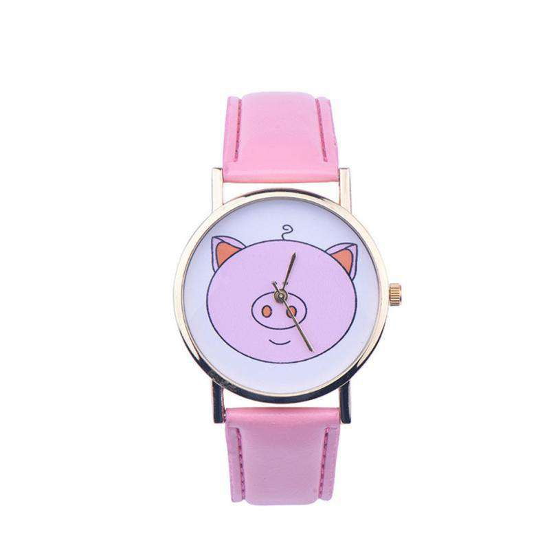 Pink Pig Quartz Watch - Green Earth Animals