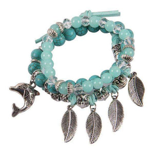 Agate Ocean Dolphin Bracelet - Green Earth Animals