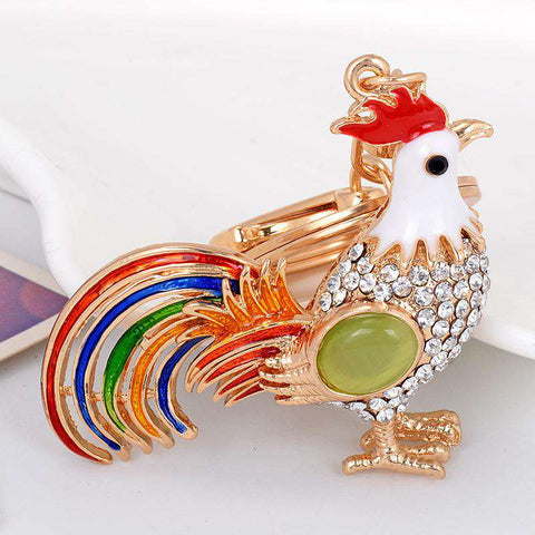 Image of Rooster Chicken Keychain Ornament - Green Earth Animals