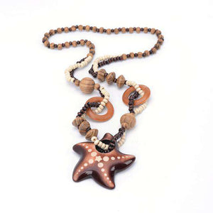 Ethnic Starfish Wood Necklace - Green Earth Animals