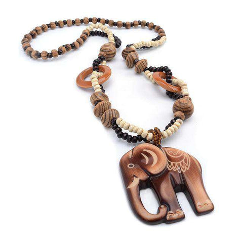 Image of Ethnic Wood Elephant Necklace - Green Earth Animals