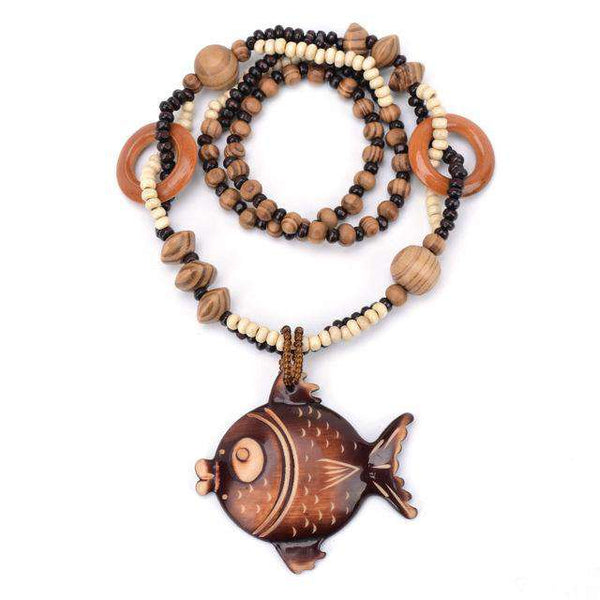 Ethnic Fish Wood Necklace - Green Earth Animals