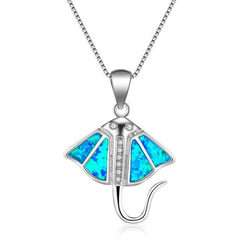 Image of Opal Sterling Silver Manta Ray Necklace - Green Earth Animals