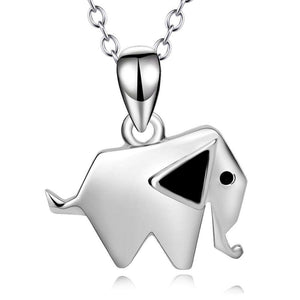 Sterling Silver Geometric Elephant Necklace - Green Earth Animals