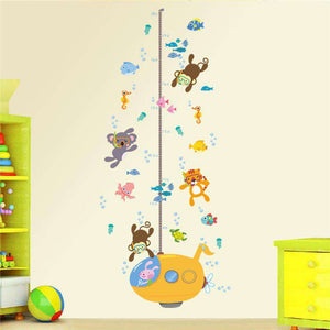 Animal Growth Chart Wall Decal - Green Earth Animals