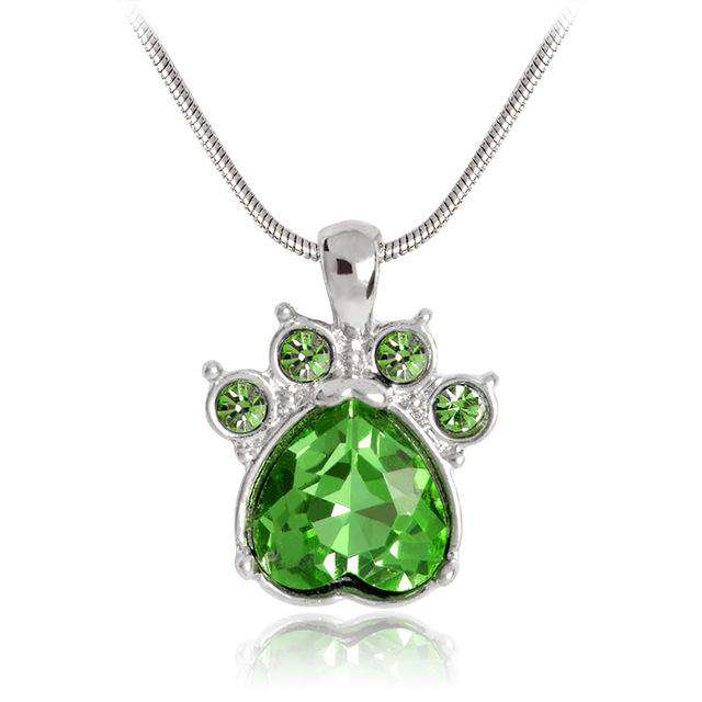 Pet Paw Crystal Birth Stone Necklace - Green Earth Animals