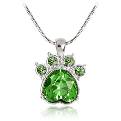 Image of Pet Paw Crystal Birth Stone Necklace - Green Earth Animals