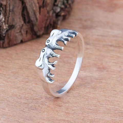 Sterling Silver Two Elephants Ring - Green Earth Animals
