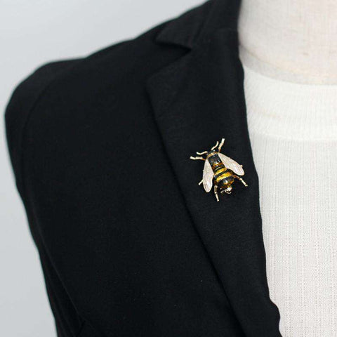 Image of Cute Bee Brooch Pin - Green Earth Animals