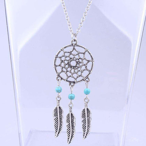 Image of Retro Dream Catcher Eagle Feather Chain Necklace - Green Earth Animals