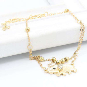 Gold Elephant Ankle Chain Bracelet