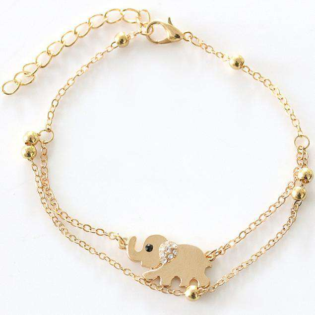 Gold Elephant Ankle Chain Bracelet - Green Earth Animals