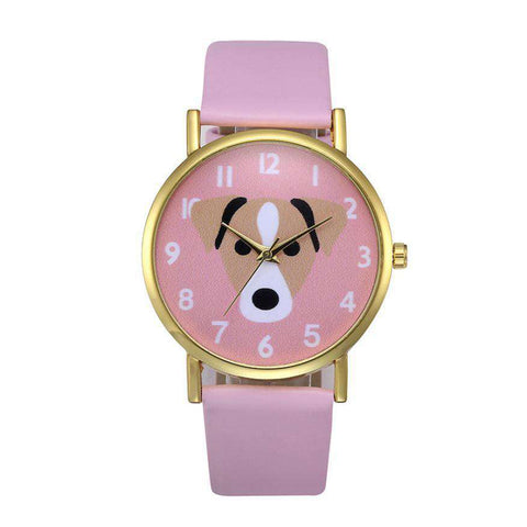 Image of Leather Band Pink Dog Watch - Green Earth Animals