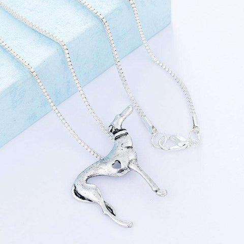 Greyhound Charm Necklace - Green Earth Animals