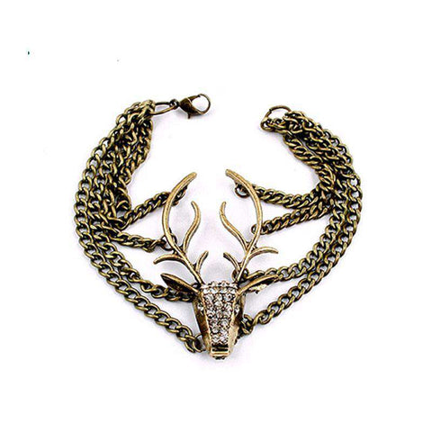 Retro Deer Head Bracelet Jewelry - Green Earth Animals
