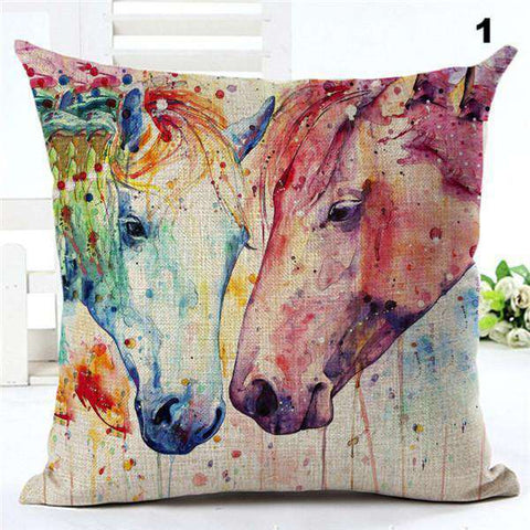 Image of Watercolor Painting Horses Pillow Cover - Green Earth Animals
