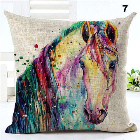 Watercolor Painting Horses Pillow Cover - Green Earth Animals