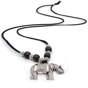 Tibetan Silver Thai Elephant Necklace - Green Earth Animals