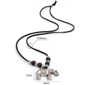 Tibetan Silver Thai Elephant Necklace