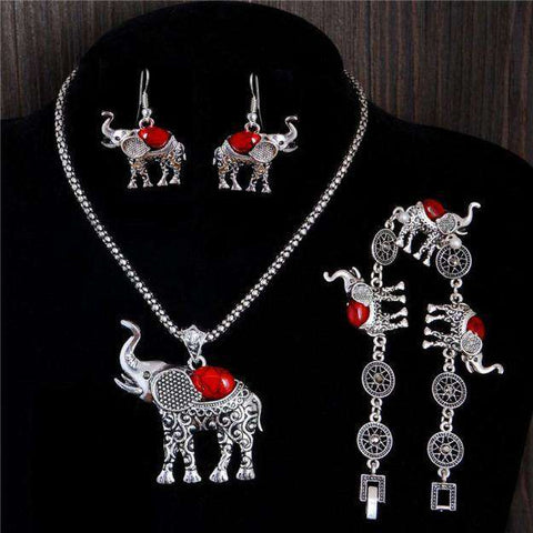 Elephant Pendant Jewelry Set - Green Earth Animals
