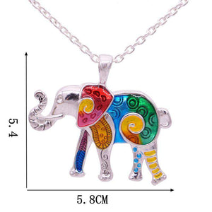 Colorful Enamel Elephant Choker Necklace