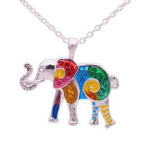 Colorful Enamel Choker Elephant Necklace - Green Earth Animals