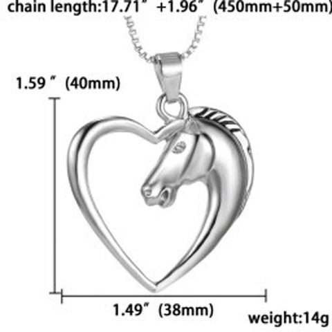 Horse Heart Necklace - Green Earth Animals