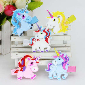Girl's Unicorn Hair Clips 5 pc Set - Green Earth Animals