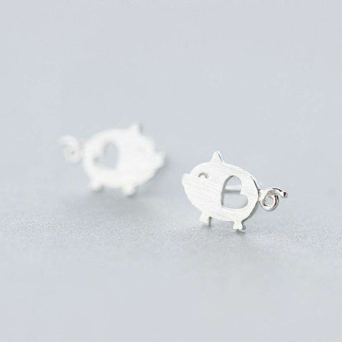 Sterling Silver Hollow Heart Pig Earrings - Green Earth Animals