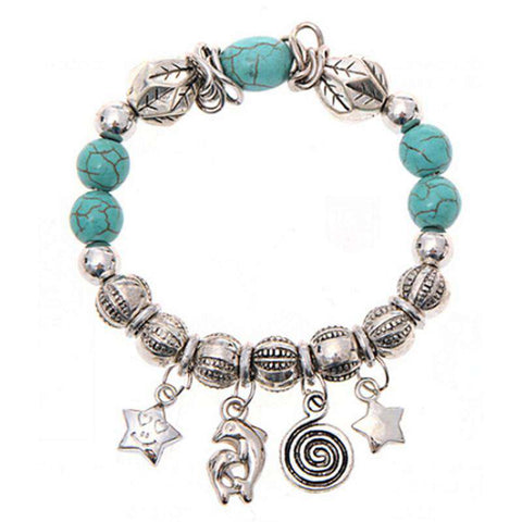 Turquoise Beads Dolphin Charm Bracelet - Green Earth Animals