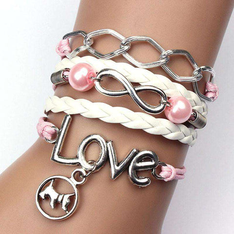 Image of Infinity Dog Love Pearl Bracelet - Green Earth Animals