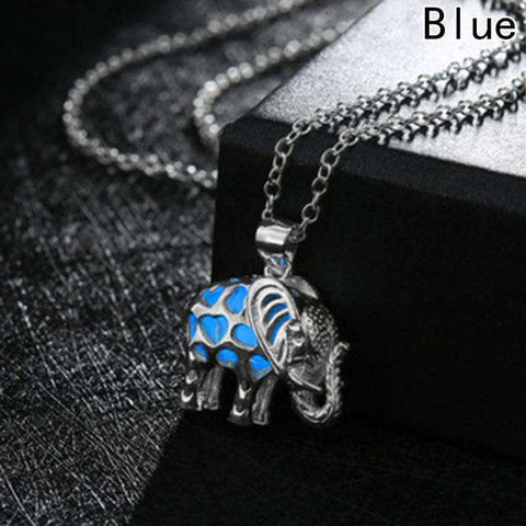 Image of Glow In The Dark Thailand Elephant Necklace - Green Earth Animals
