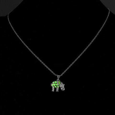 Glow In The Dark Thailand Elephant Necklace - Green Earth Animals