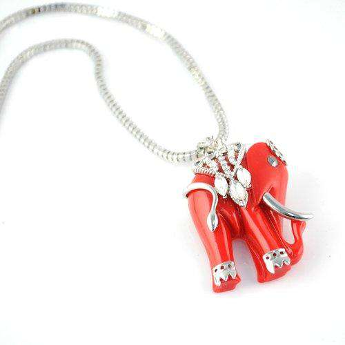 Red Indian Elephant Necklace - Green Earth Animals