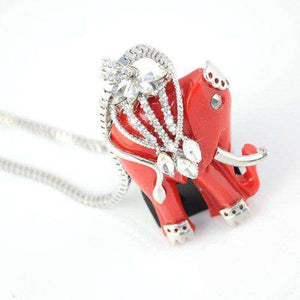 Red Indian Elephant Necklace